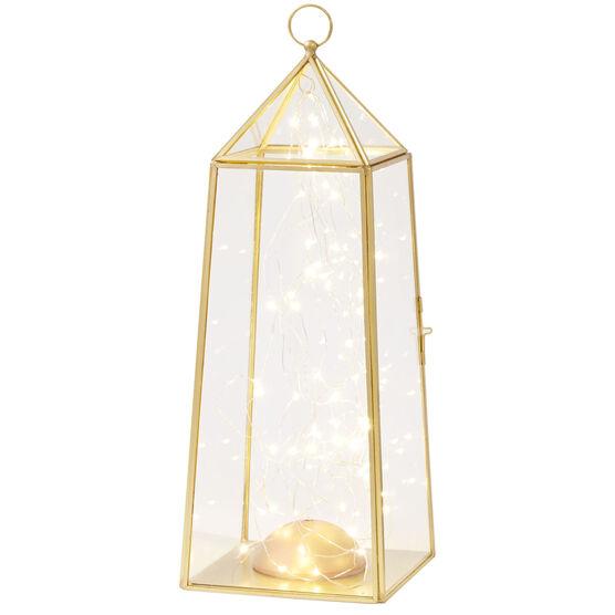 Medium Pre-Lit Glass Lantern, GOLD