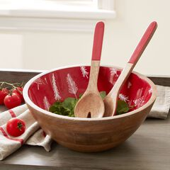 Christmas Enamel Serving Utensils & Bowl,