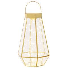 Large Pre-Lit Glass Lantern,