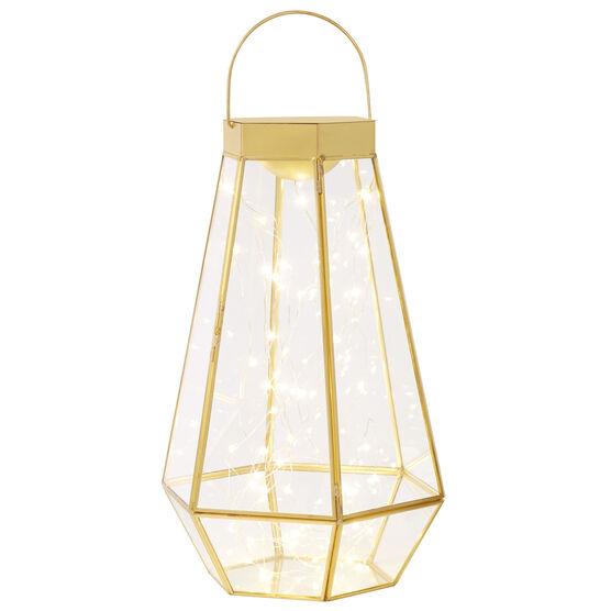 Large Pre-Lit Glass Lantern, GOLD