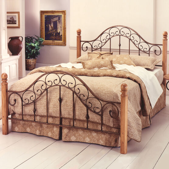 """King Bed with Bed Frame, 83½""""Lx80½""""Wx52¼""""H, COPPER BROWN"""