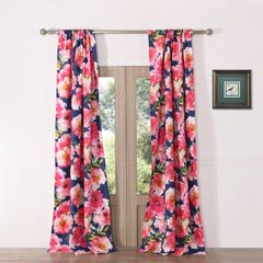 Peony Posy Navy Curtain Panel Pair by Barefoot Bungalow,