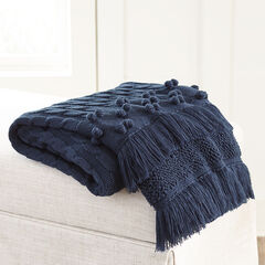 Cable Knit Tassel Throw,
