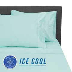 SensorPEDIC Ice Cool 400 Thread Count Cotton-Rich Surf Spray Blue Sheet Se,