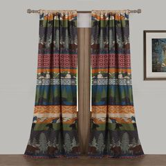 Black Bear Lodge Curtain Panel Pair ,