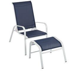 White Aluminum Chair & Ottoman,