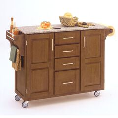 Large Cottage Oak Finish Create a Cart with Salt & Pepper Granite Top,