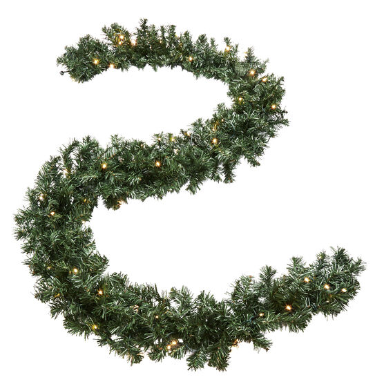 Cordless Battery-Operated LED 9' Pine Garland , GREEN