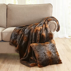 Luxe Faux Fur Throw, BROWN