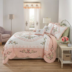 Ava Oversized Embroidered Cotton Quilt, BLUSH