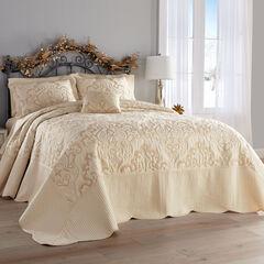 Amelia Velour Bedspread, IVORY