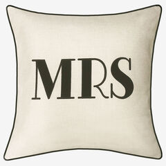 "Embroidered Applique ""Mrs"" Decorative Pillow,"