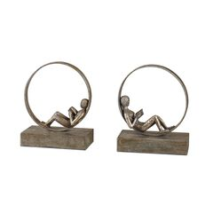 Lounging Reader Antique Bookends, Set of 2,