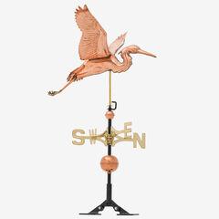 Copper Heron Weathervane,