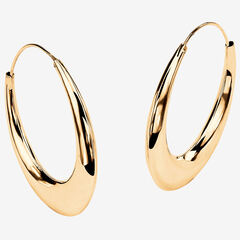 Yellow Gold over Sterling Silver Puffed Hoop Earrings (47mm),