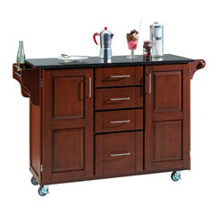 Large Cherry Finish Create a Cart with Black Granite Top,