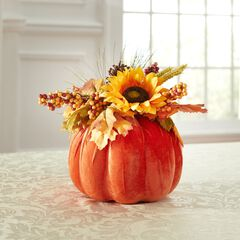 "12"" Harvest Wheat Velvet Pumpkin Centerpiece,"