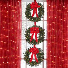 Set Of 3 Cordless Pre-Lit Mini Christmas Wreaths ,