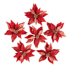 Red & Gold Poinsettia Clips, Set of 6,