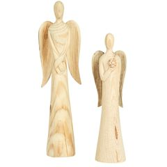 Set of 2 Wooden Angels,