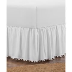 "Belles & Whistles Pom Pom Trim 15"" Drop Bed Skirt, WHITE"