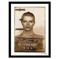 David Bowie Mugshot - White / Black - 14x18 Framed Print,
