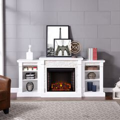 Gallatin Simulated Stone Electric Fireplace with Bookcases,