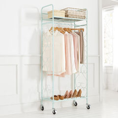Scrolled Metal Rolling Closet, FROSTY MINT