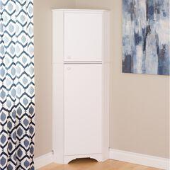 Elite White Tall 2-Door Corner Storage Cabinet,