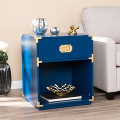 Campaign Tall Storage Side Table with Drawer,