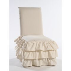 3-Tier Ruffled Dining Chair Slipcover ,