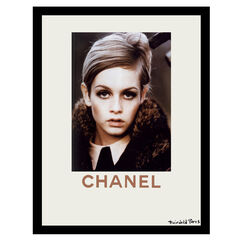 Chanel Twiggy Fur Look - Beige / Brown - 14x18 Framed Print,