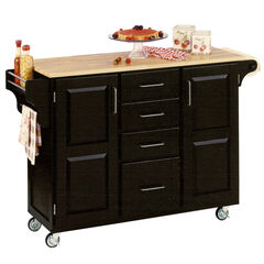 Large Black Finish Create a Cart with Wood Top,