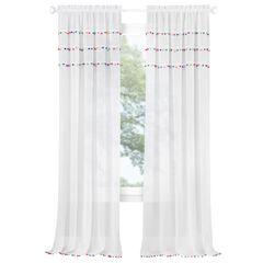 Pom Pom Rod Pocket Window Curtain Panel,