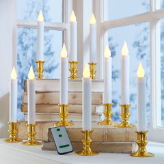 Set of 10 Taper LED Candles with Remote,