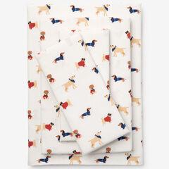Cotton Flannel Print Sheet Set, DOG