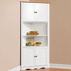 BrylaneHome® Country Kitchen Corner Cabinet,