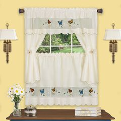 Daisy Meadow Embellished Cottage Window Curtain Set, MULTI