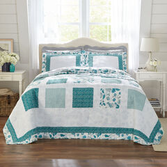 Dahlia Floral Reversible Bedspread, TURQUOISE
