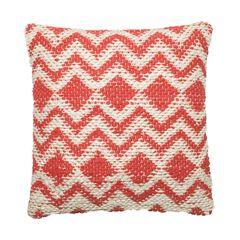 Woven Chevron And Diamond Coral Decorative Pillow,