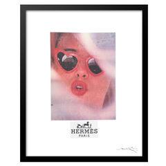 Hermes Lolita Heart Sunglasses - Red / Black - 14x18 Framed Print,