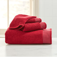 3-Pc. Towel Set + Free Bath Mitt, RED