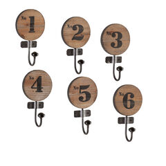 Rustic Wooden Numbered Hooks, Set of Six,