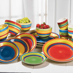 Santa Fe Hand-Painted Striped Stoneware Dinnerware,