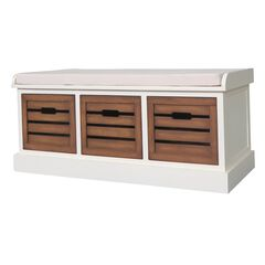 White Honeynut 3-Drawer Bench ,