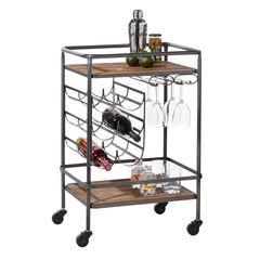 Brown Chinese Fir and Metal Industrial Bar Cart, 30x20x15,