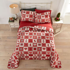 3-Pc. Christmas Bedspread Set, PRINTED PATCHWORK