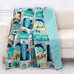 Greenland Home Wave Rider Quilted Throw Blanket,