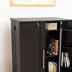 Locking Media Storage Cabinet with Shaker Doors,