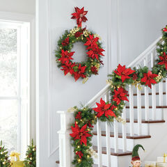 Pre-Lit Poinsettia Wreath ,